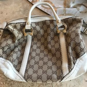 Gucci small tan and cream bag